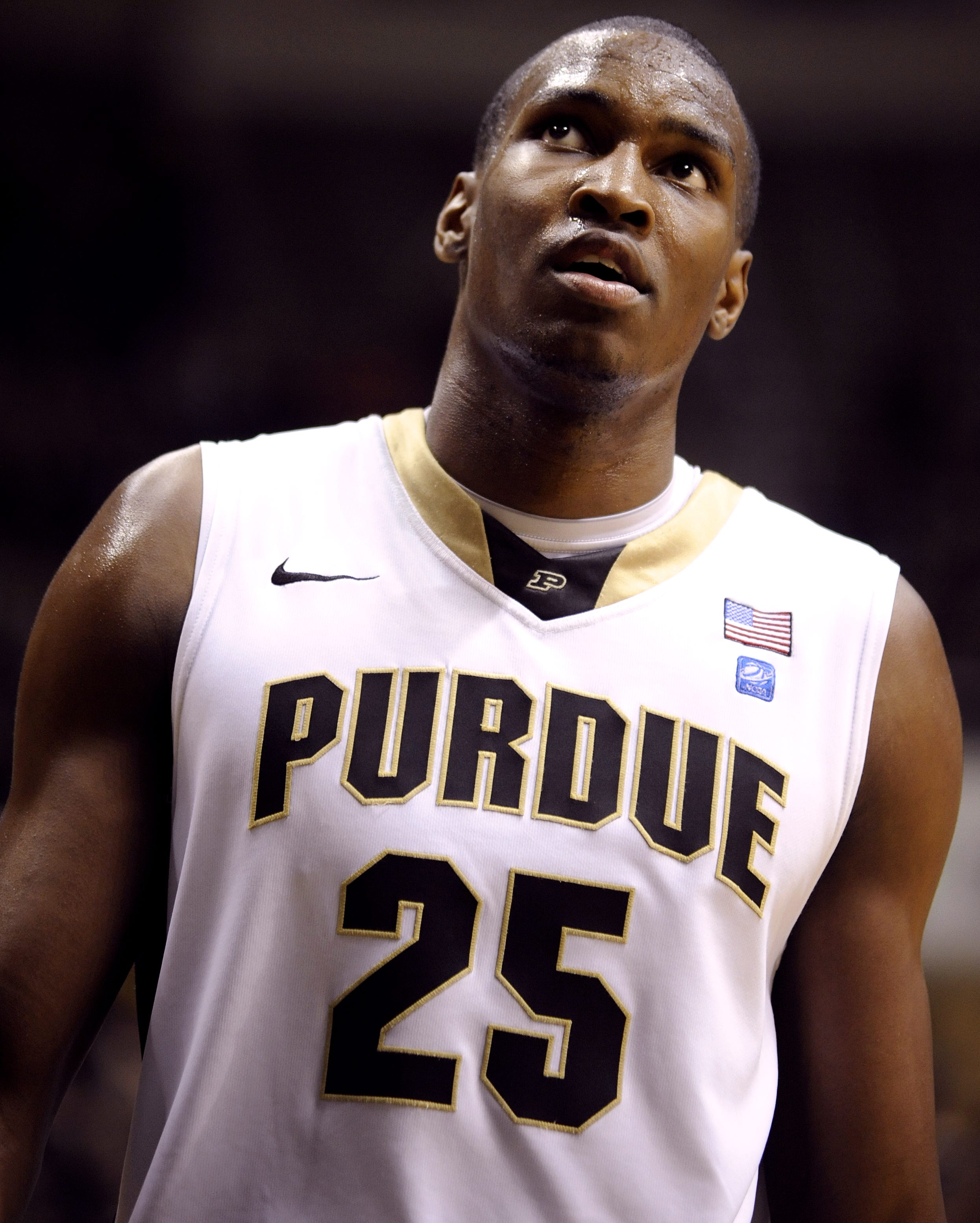 Purdue center JaJuan Johnson eyes the basket before a free throw against Austin Peay at Mackey Arena in 2010.
