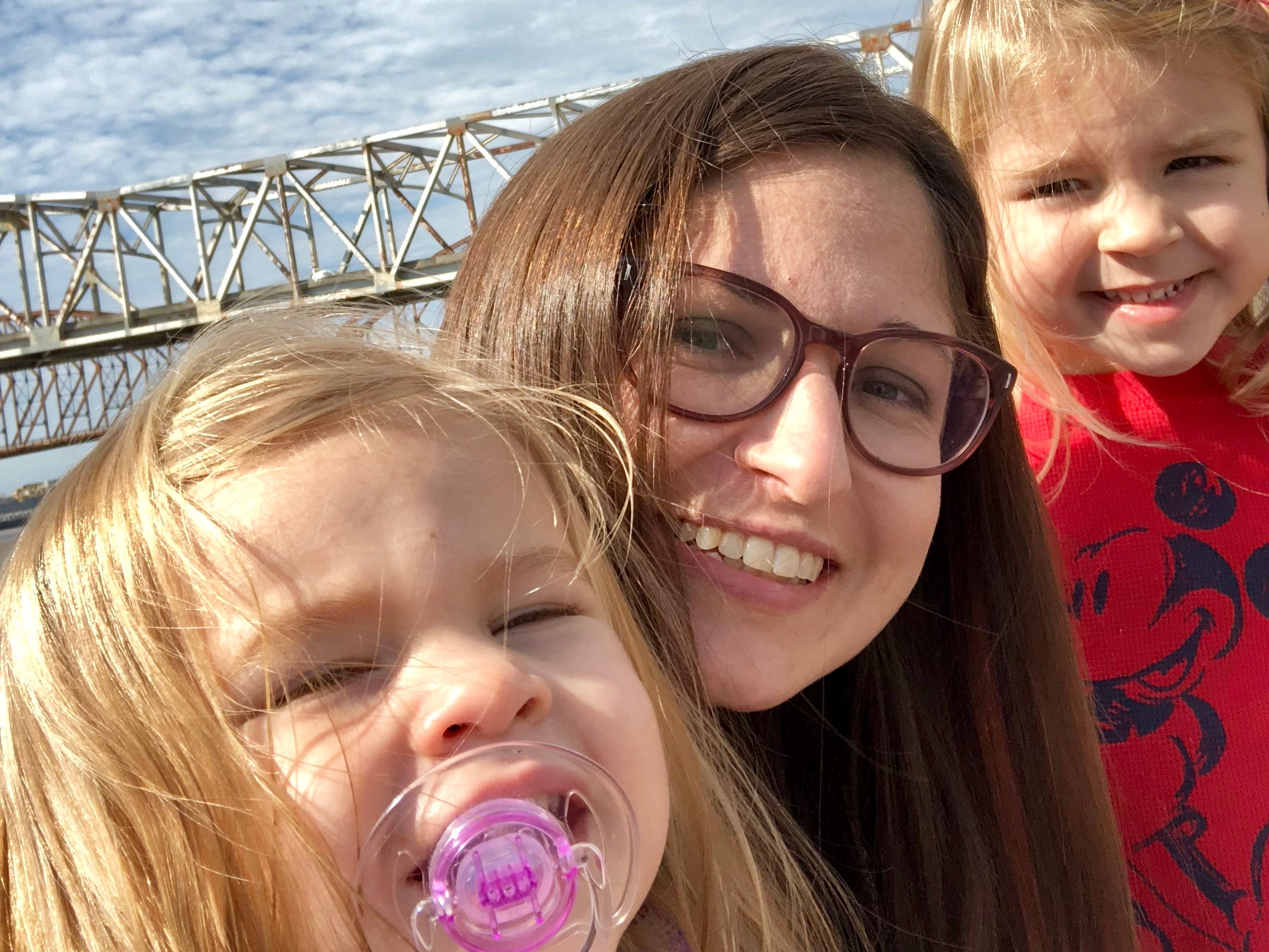 Reporter Leigh Guidry snaps a selfie with her daughters Avery and Marie in front of the Atchafalaya during their stop in Morgan City along the Bayou Teche Byway.