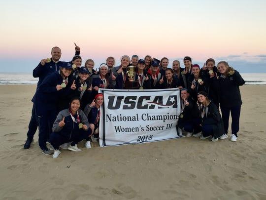 Cleary University's women's soccer team celebrates its national championship in Virginia Beach, Va. on Sunday, Nov. 11, 2018.