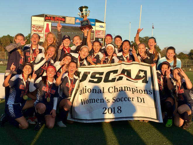 Cleary University's women's soccer team celebrates after winning the USCAA national championship on Sunday, Nov. 11, 2018. University officials had not decided whether sports will be delayed by COVID-19 in the fall of 2020, as of late May.