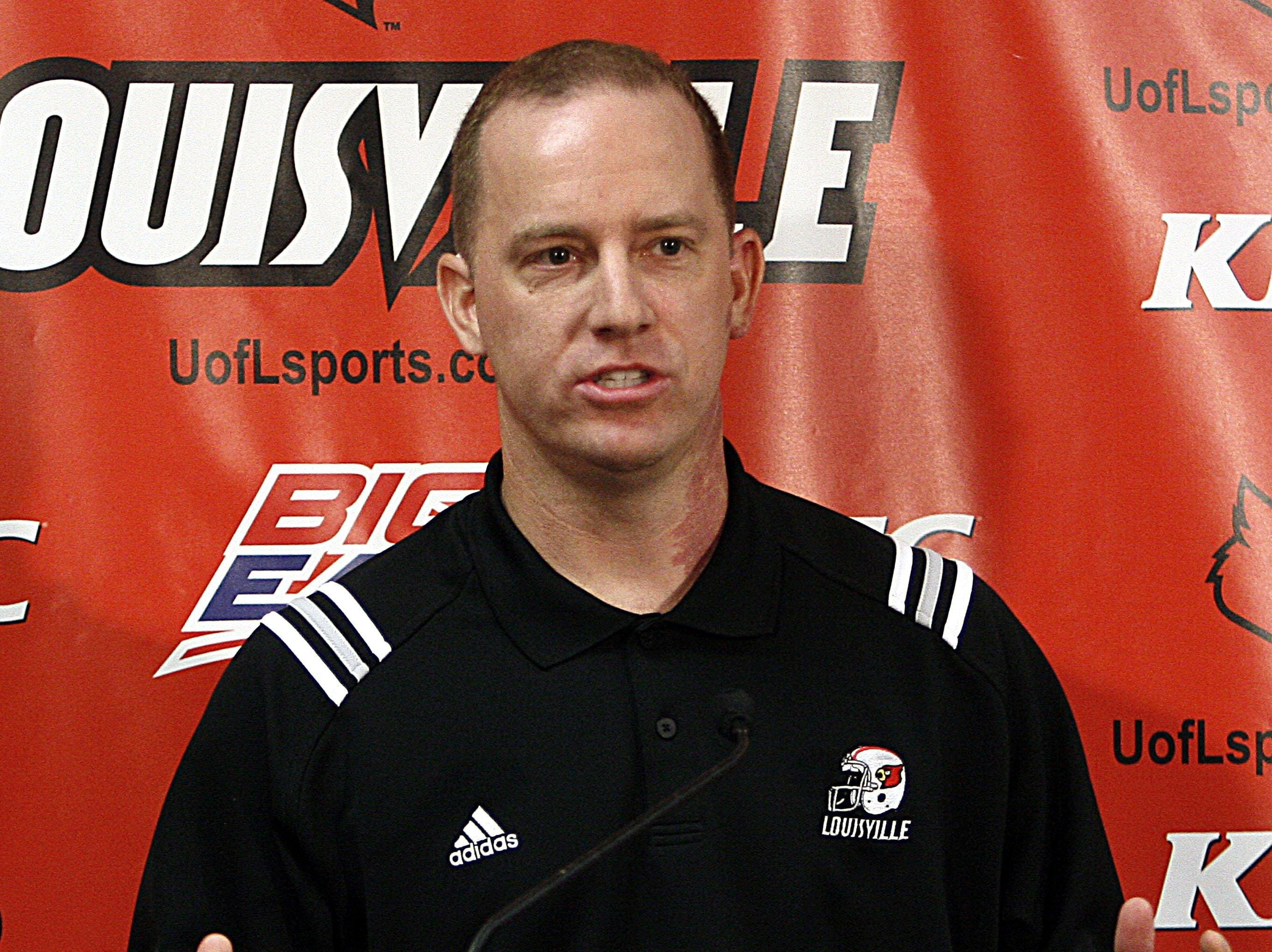 Jeff Brohm talks about his new position on the Louisville football staff as assistant head coach to Steve Kragthorpe during a news conference at Freedom Hall in Louisville, Ky., Saturday, Jan. 13, 2007. Brohm, a former Louisville player and quarterbacks coach on Bobby Petrino staff, turned down the offensive coordinator's job at Alabama to stay at Louisville.
