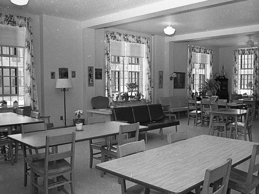 This 1968 photo shows the interior of one of the campus buildings at the Boys Training School in Lansing. Established in 1856, the school served as a reform school for boys until it closed in 1972.