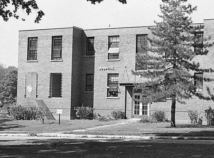 One of the buildings which served as a hospital at the Boys Training School in Lansing, 1971. Established in 1856, the school served as a reform school for boys until it closed in 1972.