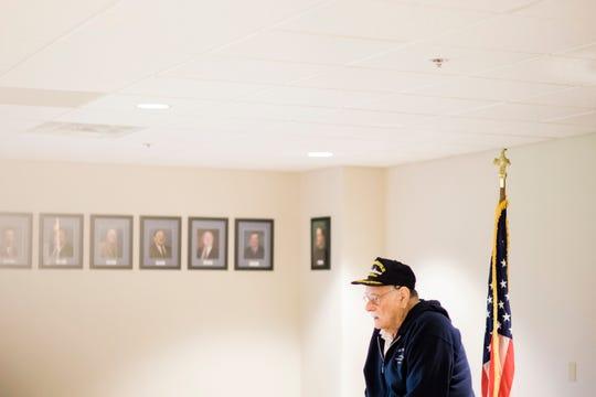 World War II veteran Dick Thelen, 91, speaks to students at St. Martha's School in Okemos, Michigan.