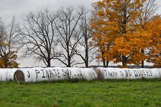 A message painted in early November on bales of hay at the Cook Dairy Farm in Pewamo showed support for the Pewamo-Westphalia football team. The Pirates finished the season 11-1 after they won state titles the previous two seasons.