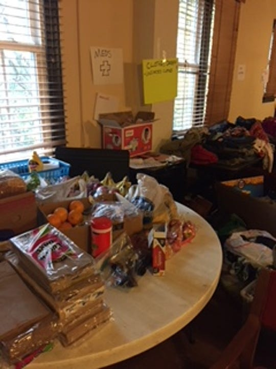 Food and medicines collected at First Congregational Church to be delivered to Central American asylum seekers passing through Memphis by bus.