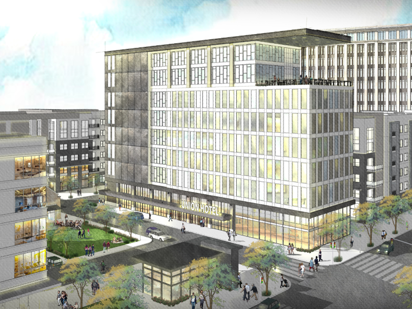 A rendering by architecture firm LRK of the proposed Union Row development in downtown Memphis.