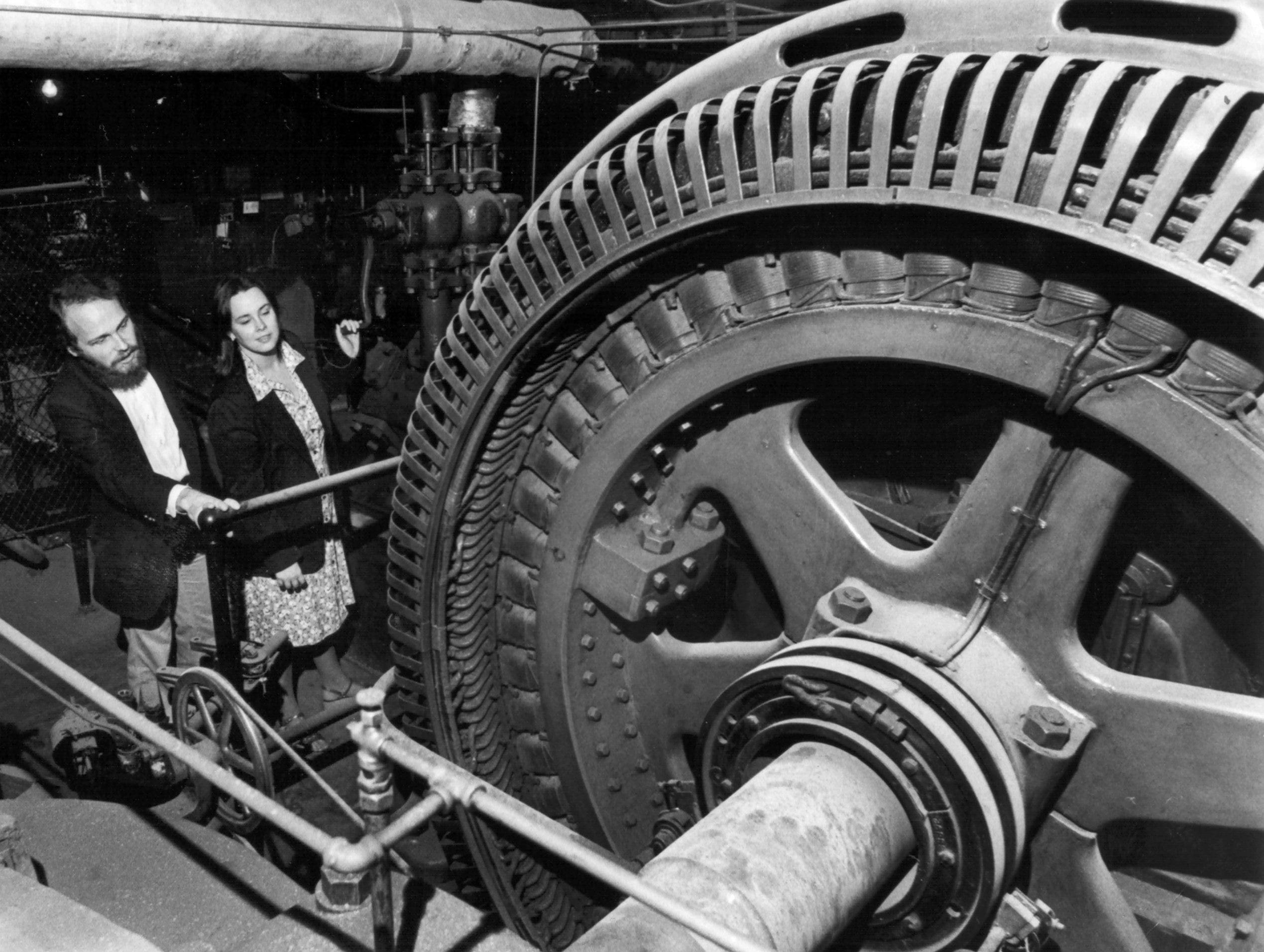 Hillsman Lee Wright (Left) and Rutledge Forney look at old equipment in the basement of The Orpheum on 17 Nov 1978, two days before the 50th anniversary of the opening of the grand theater in 1928.  The Memphis Development Foundation purchased the building in 1976, completed millions of dollars in renovations and opened the theater in February 1977.    It has staged hundreds of Broadway musicals and shows in the interim and generated millions in state and local tax dollars.