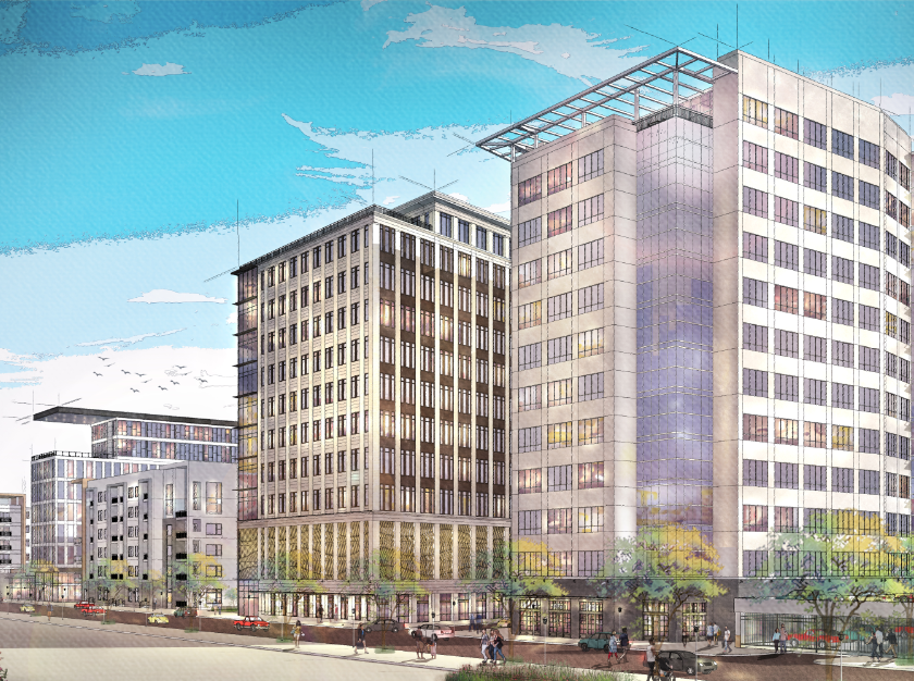 A rendering of the proposed Union Row development in downtown Memphis.