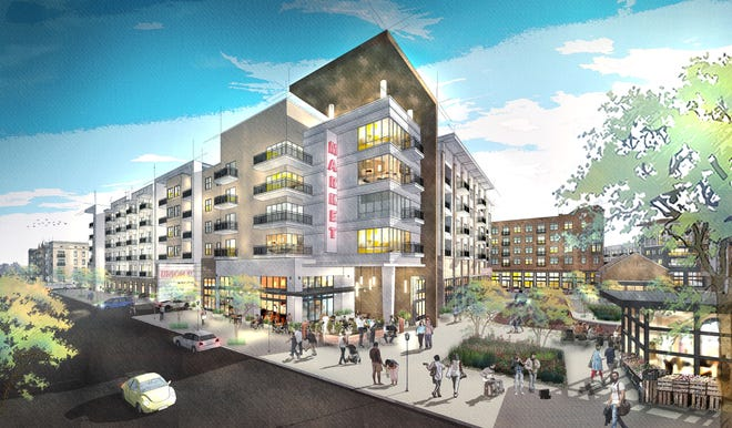A rendering shows the proposed Union Row development in Downtown Memphis, near the FedEx Forum. Plans are for the $950 million project to feature apartments, retail and office space, and more in a lagging area of Downtown.