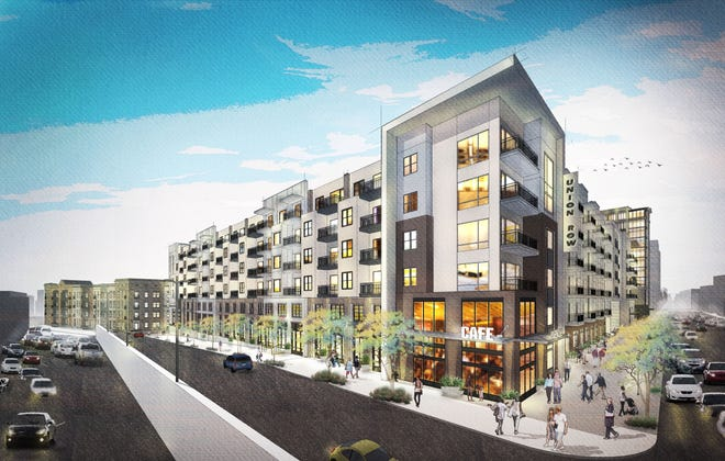 A rendering of the proposed Union Row development in downtown Memphis, near the FedEx Forum. Plans are for the $950 million project to feature apartments, retail and office space and more to a lagging area of downtown.