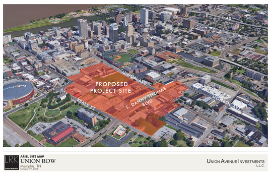 The proposed Union Row development will take over a stretch of downtown near the FedEx Forum that is lagging, as this rendering from architecture and design firm LRK shows.