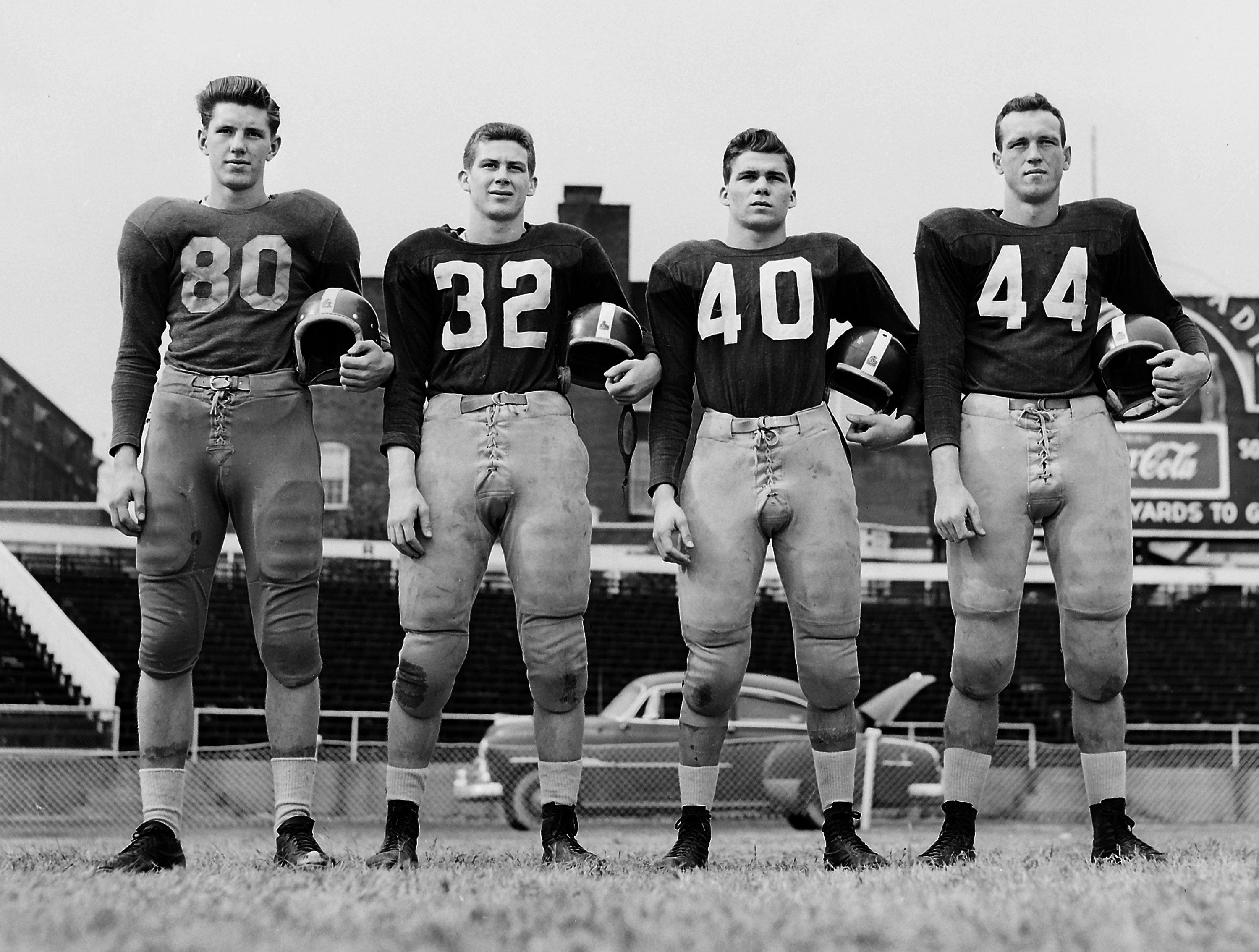 Pictured as members of the All-Memphis backfield on Nov. 25, 1951 are Johnny Martin (80) of Central, Clifton Parker (32), Ralph Robison (40) and Marvin Throneberry (44), all of South Side.