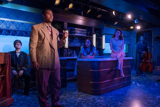 """Jonathan Spivey (left), Nygel D. Robinson, Katherine Thomas, Kelley Faulkner and Brian Russell Carey perform in """"The All Night Strut!,"""" staged by Milwaukee Repertory Theater at the Stackner Cabaret."""