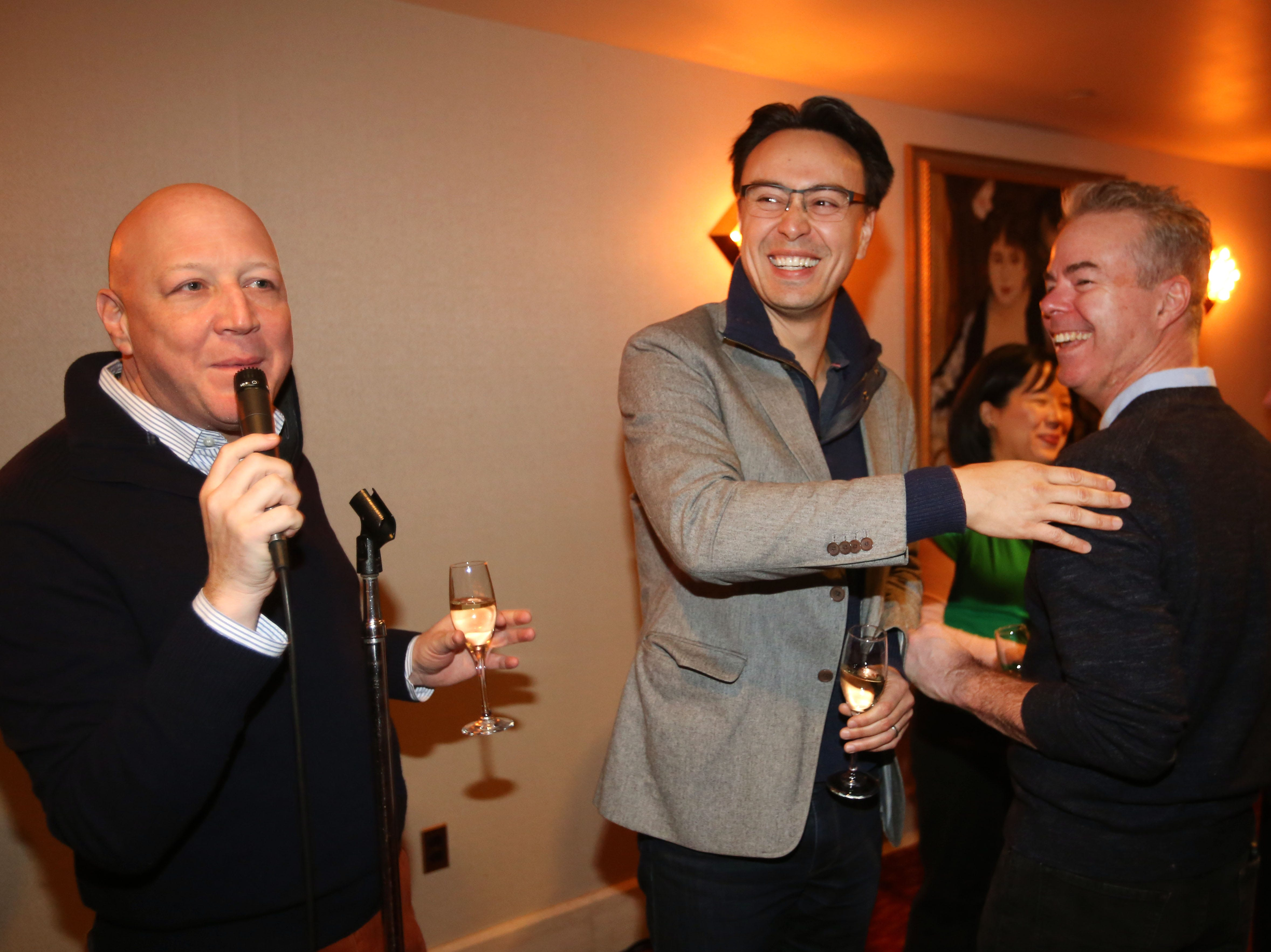 Milwaukee Symphony president and CEO Mark Niehaus has the mike; new music director designate Ken-David Masur (center) and concertmaster Frank Almond have the smiles.