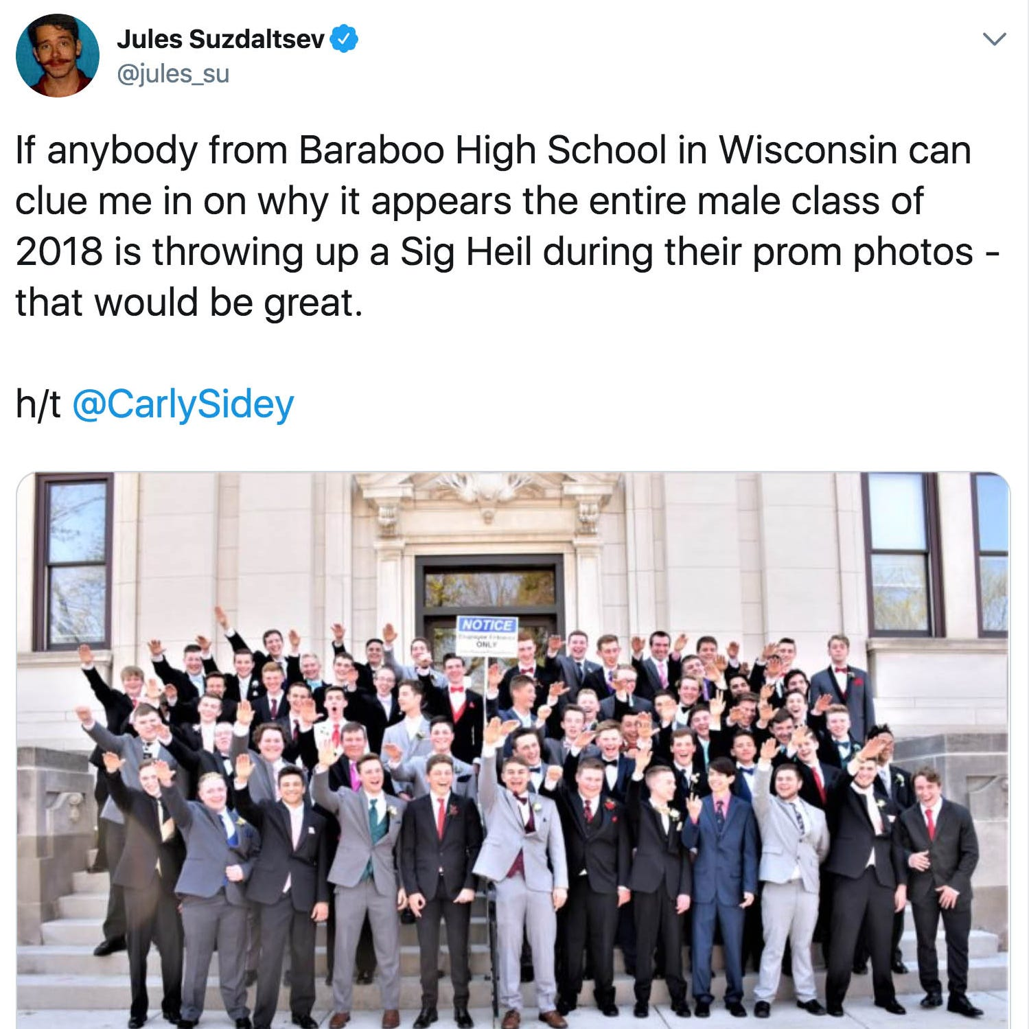 Baraboo school district condemns a photo showing a large group of students giving Nazi salute
