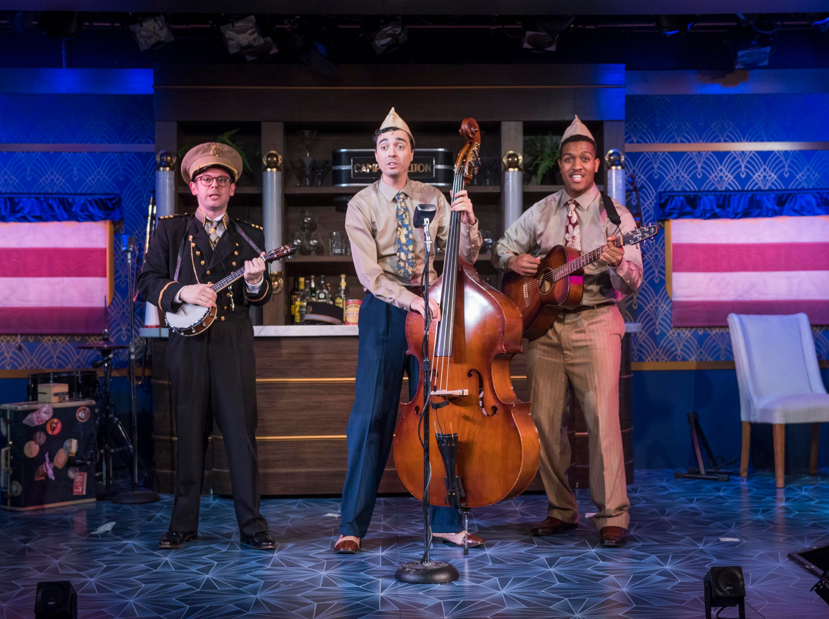 "Jonathan Spivey (left), Brian Russell Carey and Nygel D. Robinson perform in ""The All Night Strut!,"" staged by Milwaukee Repertory Theater at the Stackner Cabaret."