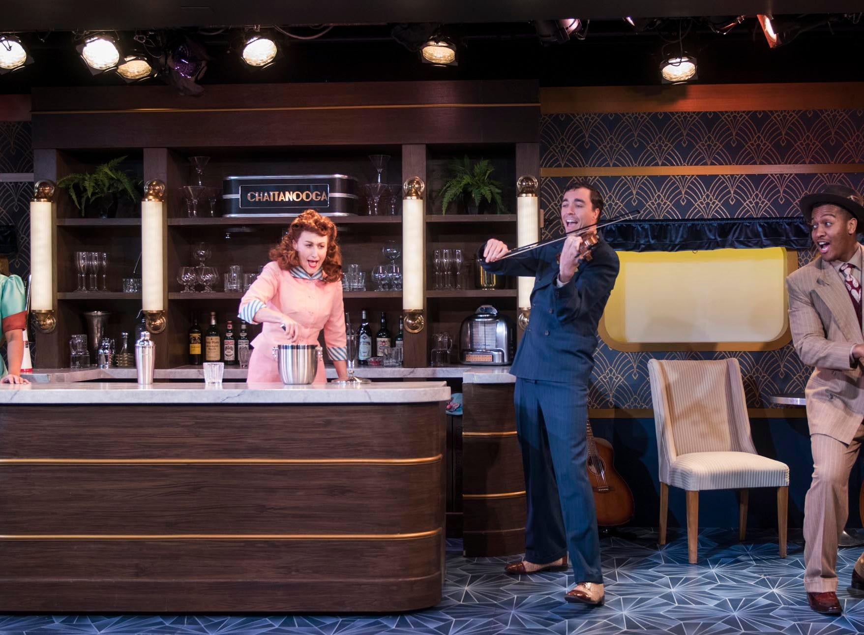 """Katherine Thomas (left), Kelley Faulkner, Brian Russell Carey and Nygel D. Robinson perform in """"The All Night Strut!,"""" staged by Milwaukee Repertory Theater at the Stackner Cabaret."""