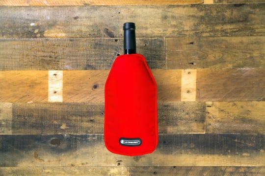 Le Creuset's new nylon wine cooler sleeve has inner gel packs.