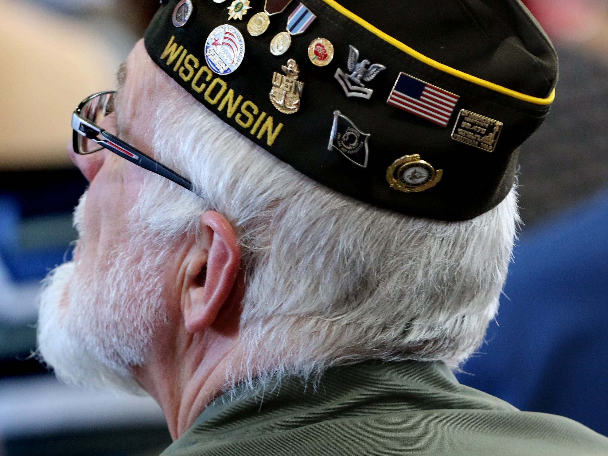 A veteran in the audience of a Veteran's Day ceremony at the Oak Creek Fire Department Station 3 on Nov. 10.
