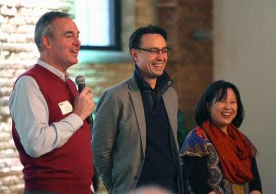 Doug Hagerman introduces Ken-David Masur, the Milwaukee Symphony's new music director designate, and spouse Melinda Lee Masur to donors. Hagerman was chairman of the music director search committee.
