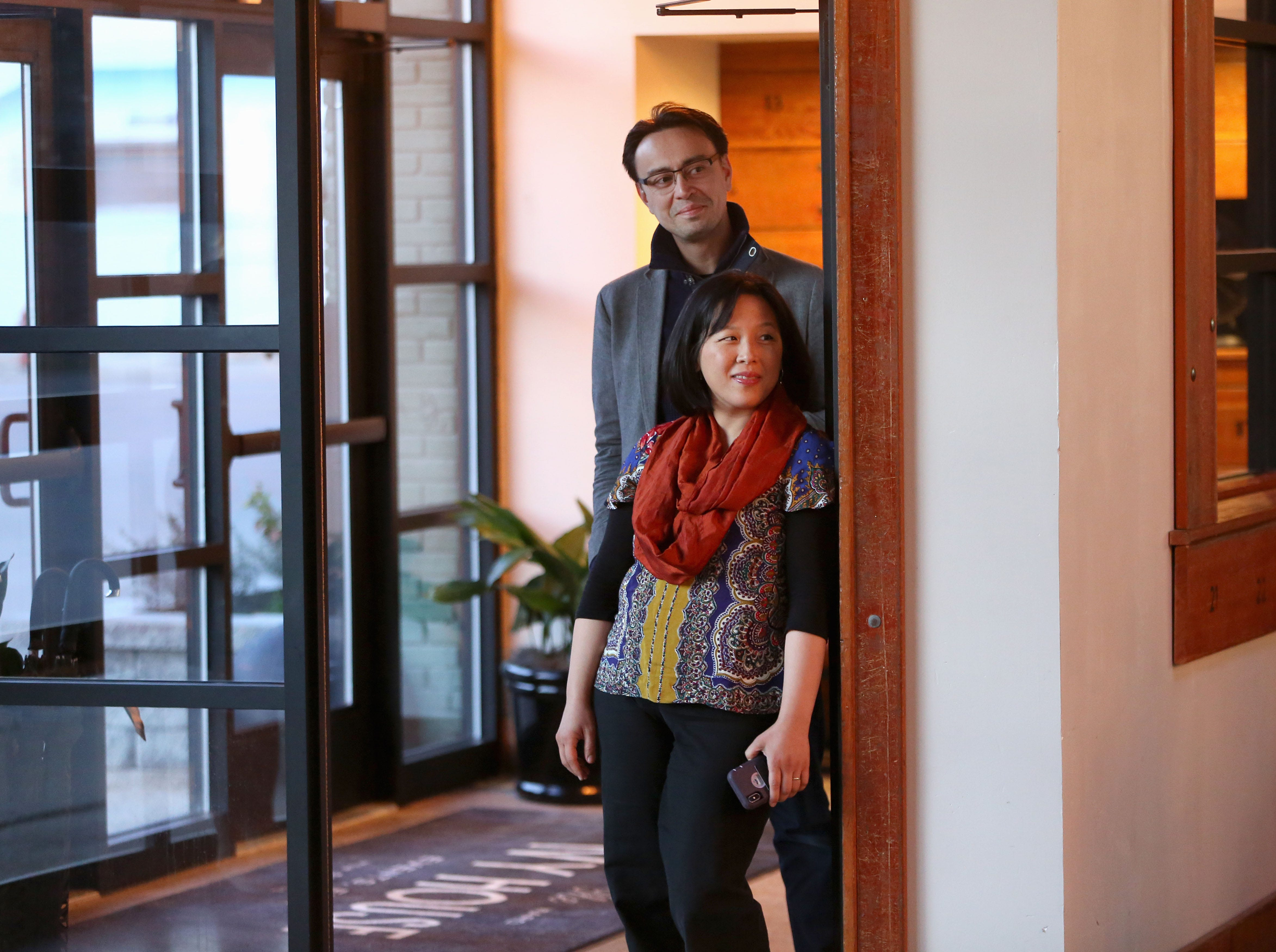 Ken-David Masur and spouse Melinda Lee Masur wait to be introduced to Milwaukee Symphony donors Sunday. Ken-David Masur is the MSO's new music director designate.