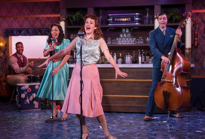 """Nygel D. Robinson (left), Katherine Thomas, Kelley Faulkner and Brian Russell Carey perform in """"The All Night Strut!,"""" staged by Milwaukee Repertory Theater at the Stackner Cabaret."""