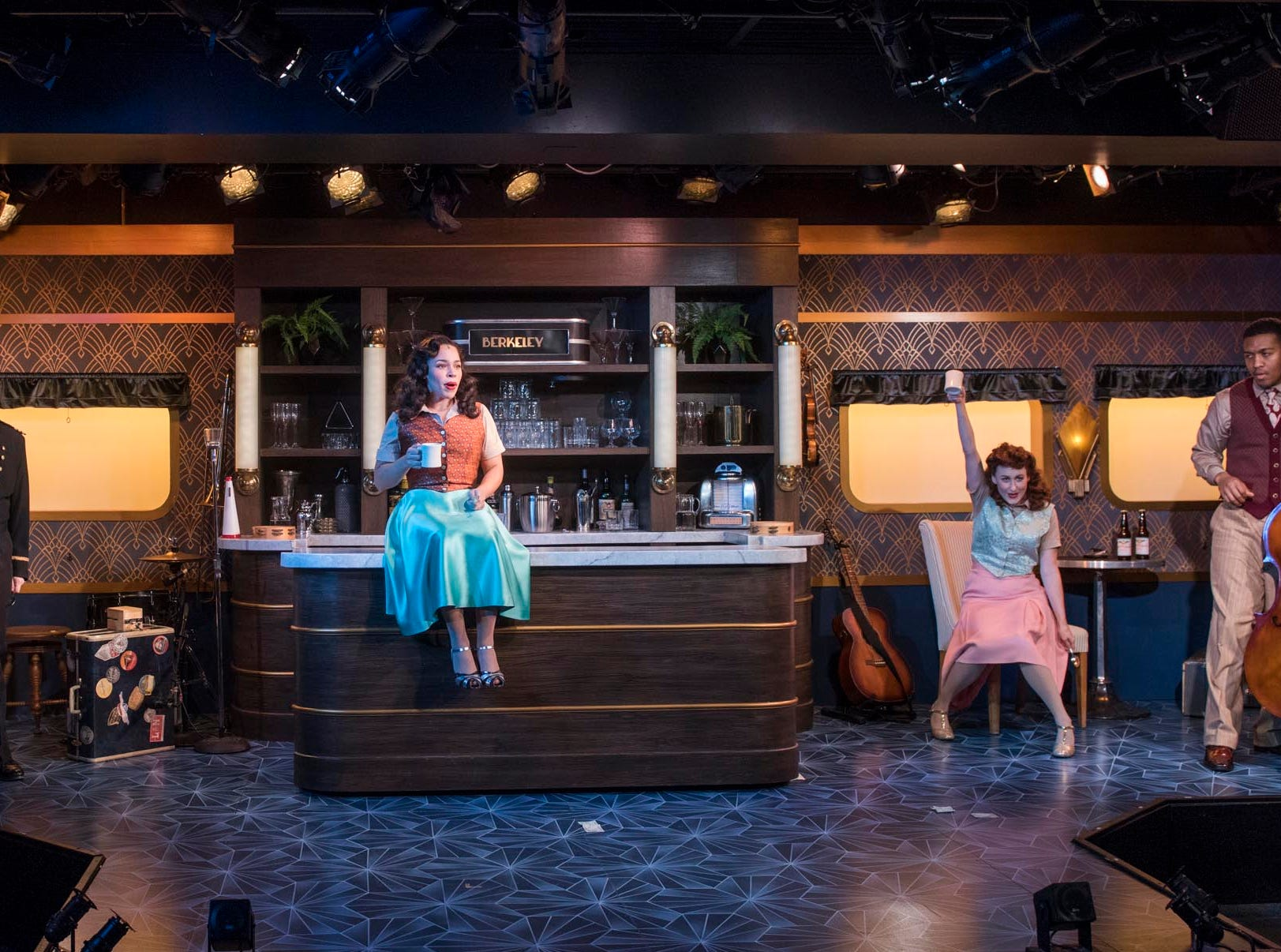 """Brian Russell Carey (left), Jonathan Spivey, Katherine Thomas, Kelley Faulkner and Nygel D. Robinson perform in """"The All Night Strut!,"""" staged by Milwaukee Repertory Theater at the Stackner Cabaret."""