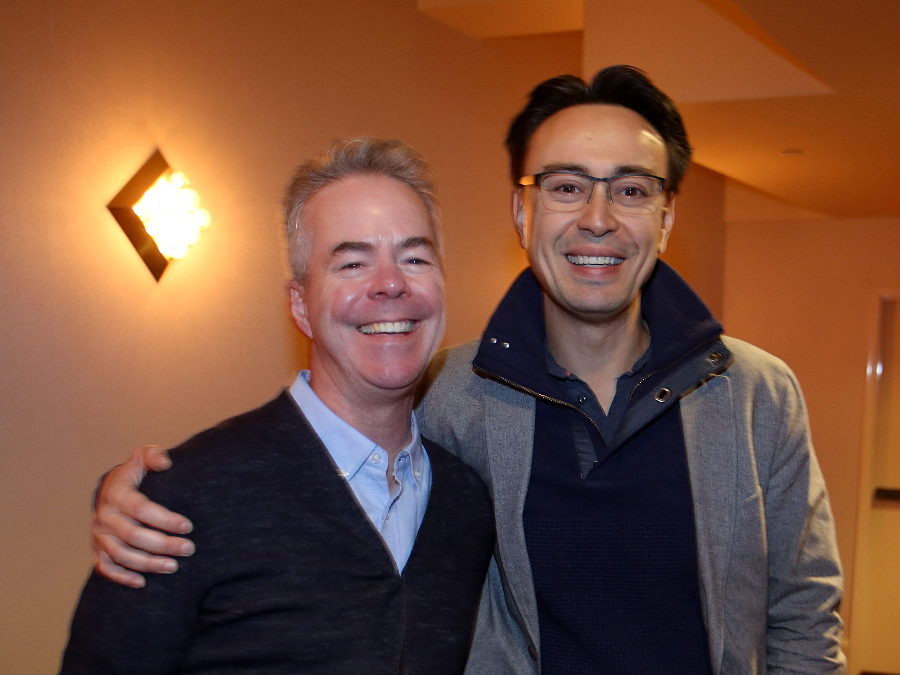 Milwaukee Symphony concertmaster Frank Almond (left) poses with Ken-David Masur, the MSO's new music director designate.