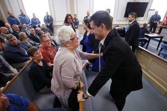 Marilyn Gilhuley, mother of victim Patrick Gilhuley congratulates Assistant Prosecutor Matthew Troiano after a jury deliberating over two days found Virginia Vertetis guilty of murder in Morris County Superior Court Monday. Prosecutors contended that Vertetis purposely shot Gilhuley at her Mount Olive home in 2014 out of desperation that he was breaking up with her. April 3, 2017, Morristown, NJ