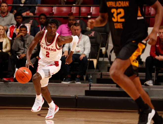 Alabama freshman guard Kira Lewis Jr. (2) dribbles in a game against Appalachian State on Nov. 11, 2018 from Coleman Coliseum in Tuscaloosa, Ala. (Photo by Robert Sutton/Alabama athletics)