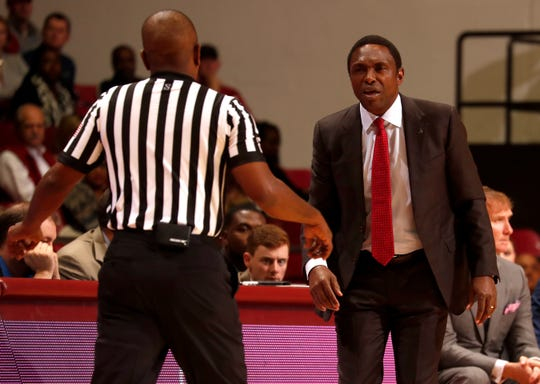 Alabama head coach Avery Johnson argues a call in a game against Appalachian State on Nov. 11, 2018 from Coleman Coliseum in Tuscaloosa, Ala. (Photo by Robert Sutton/Alabama athletics)