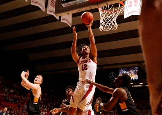 Alabama junior guard Dazon Ingram (12) puts up a shot in a game against Appalachian State on Nov. 11, 2018 from Coleman Coliseum in Tuscaloosa, Ala. (Photo by Robert Sutton/Alabama athletics)