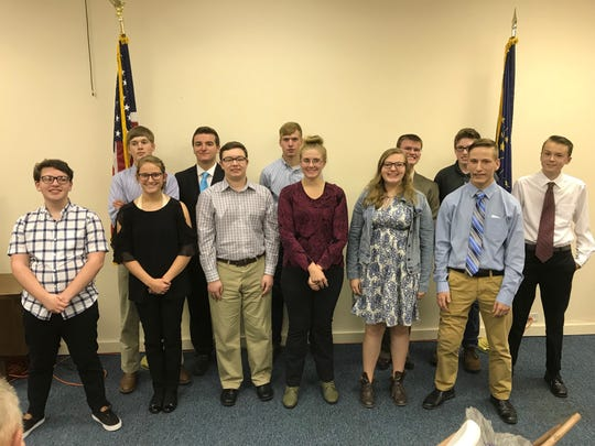Competitors in the the 2018 Henry County Republican Club's Speech Contest were: Front row (from left) Grayson Joslin, Josie Stevenson, Silas Alton, Jessie Lanzer, Hannah McKellar, Christian Harding; back row: Vince Shirey; Sam Goble; Drew Shirey; Daryl Frith; Tyler Combs annd Samuel Pederson.