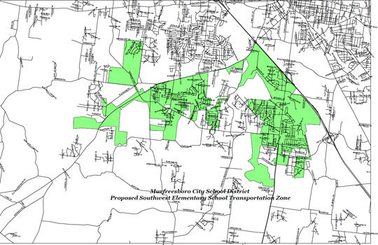 The green areas show Murfreesboro City Schools' proposed zoning for a southwest elementary school that will open summer 2019 on St. Andrews Drive off Veterans Parkway.