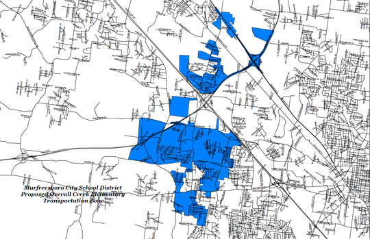 The blue area shows Murfreesboro City Schools' proposed zone for Overall Creek Elementary after neighborhoods are rezoned to the future southwest elementary school that will open summer 2019 on St. Andrews Drive off Veterans Parkway.
