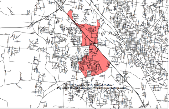 The red area shows Murfreesboro City Schools' proposed zone for Cason Lane Academy after neighborhoods are rezoned to the future southwest elementary school that will open summer 2019 on St. Andrews Drive off Veterans Parkway.