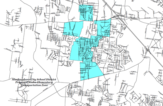 The light blue areas show Murfreesboro City Schools' proposed zoning for Scales Elementary after neighborhoods are rezoned to the future southwest elementary school on St. Andrews Drive off Veterans Parkway.