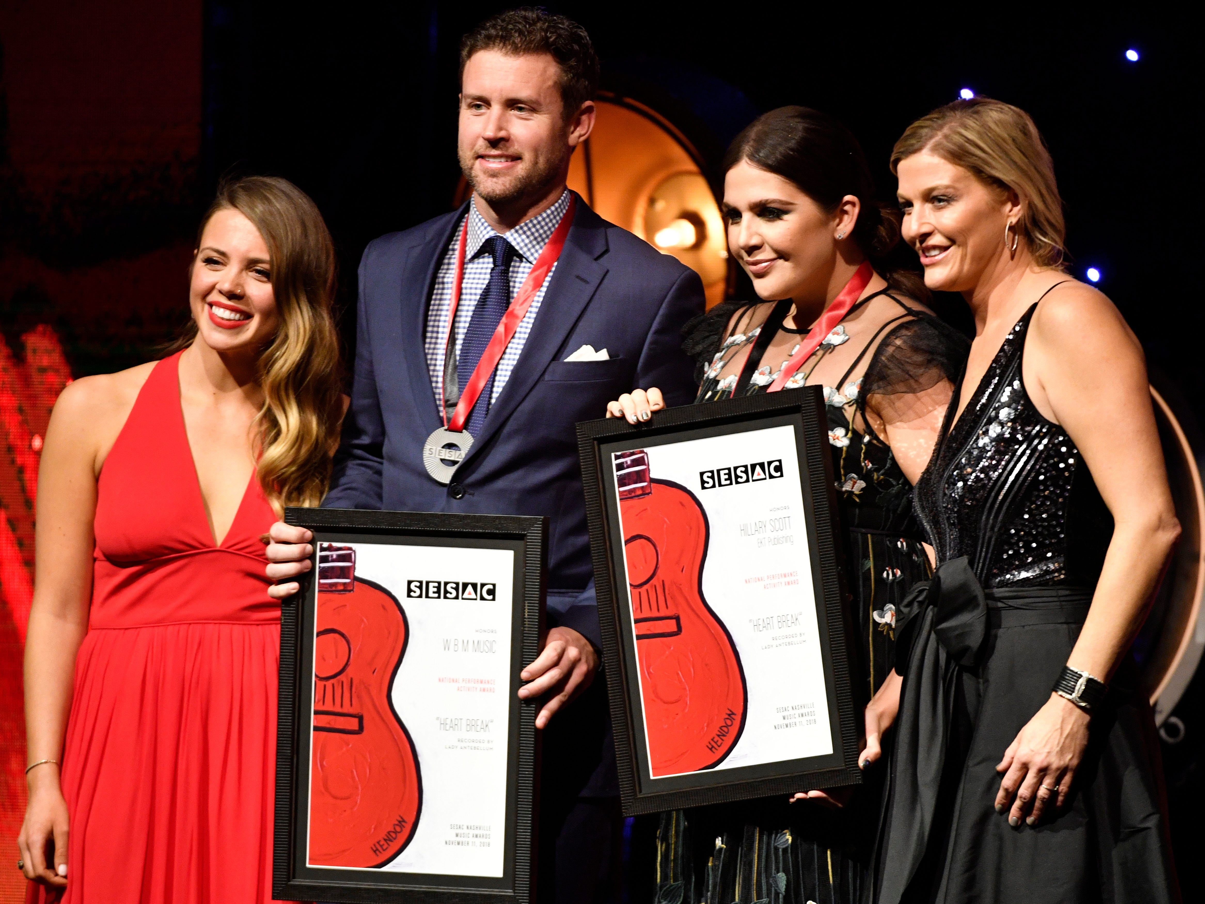 """""""HEART BREAK""""written by:Hillary Scottpublished by W.B.M. Music Corp, EKT Publishingrecorded by:Lady Antebellum at the SESAC Nashville Music Awards at the Country Music Hall of Fame and Museum Sunday Nov. 11, 2018, in Nashville, Tenn."""