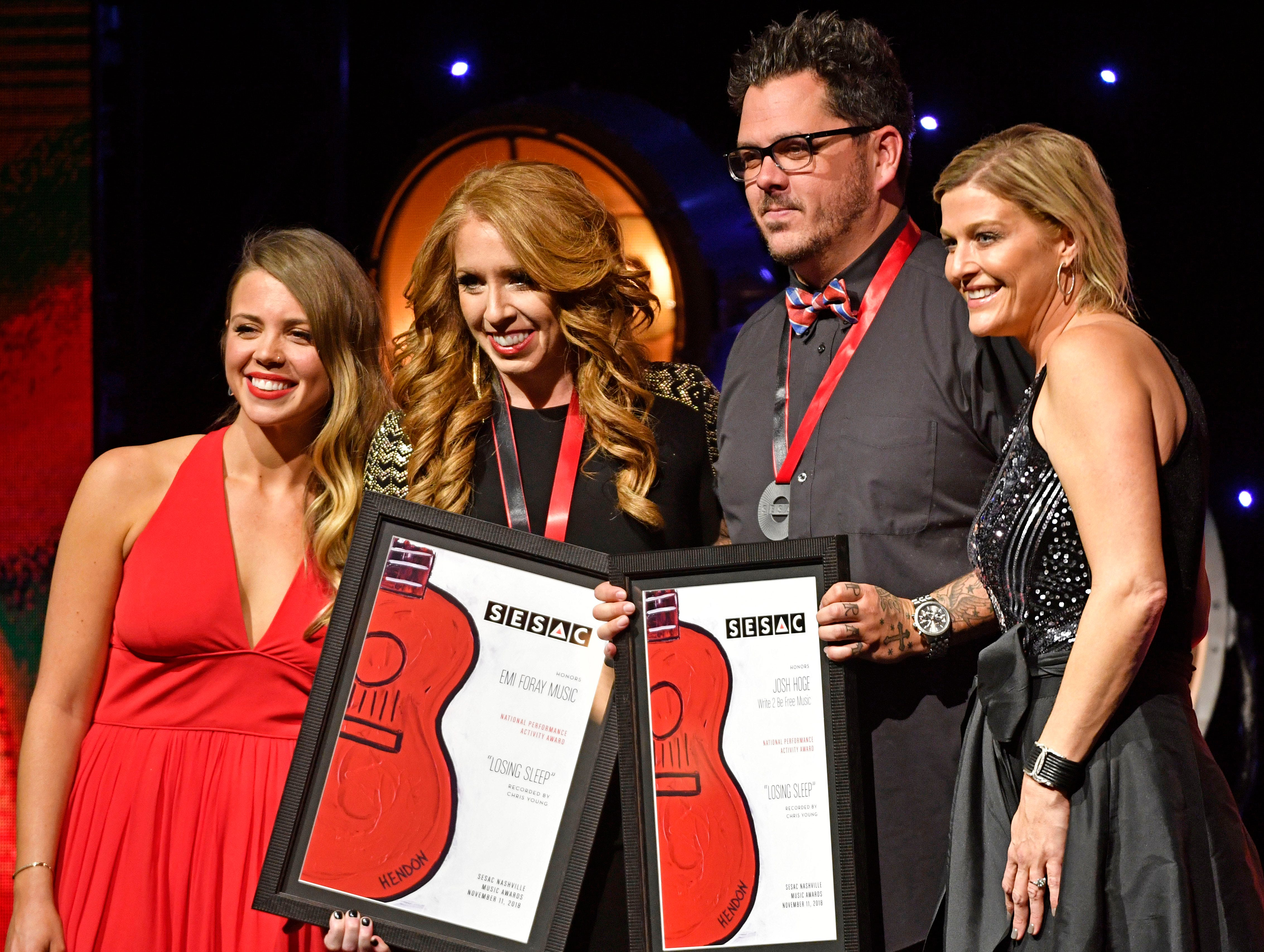 """""""LOSING SLEEP""""written by:Josh Hogepublished by: EMI Foray Music, Write to Be Freerecorded by:Chris Young at the SESAC Nashville Music Awards at the Country Music Hall of Fame and Museum Sunday Nov. 11, 2018, in Nashville, Tenn."""