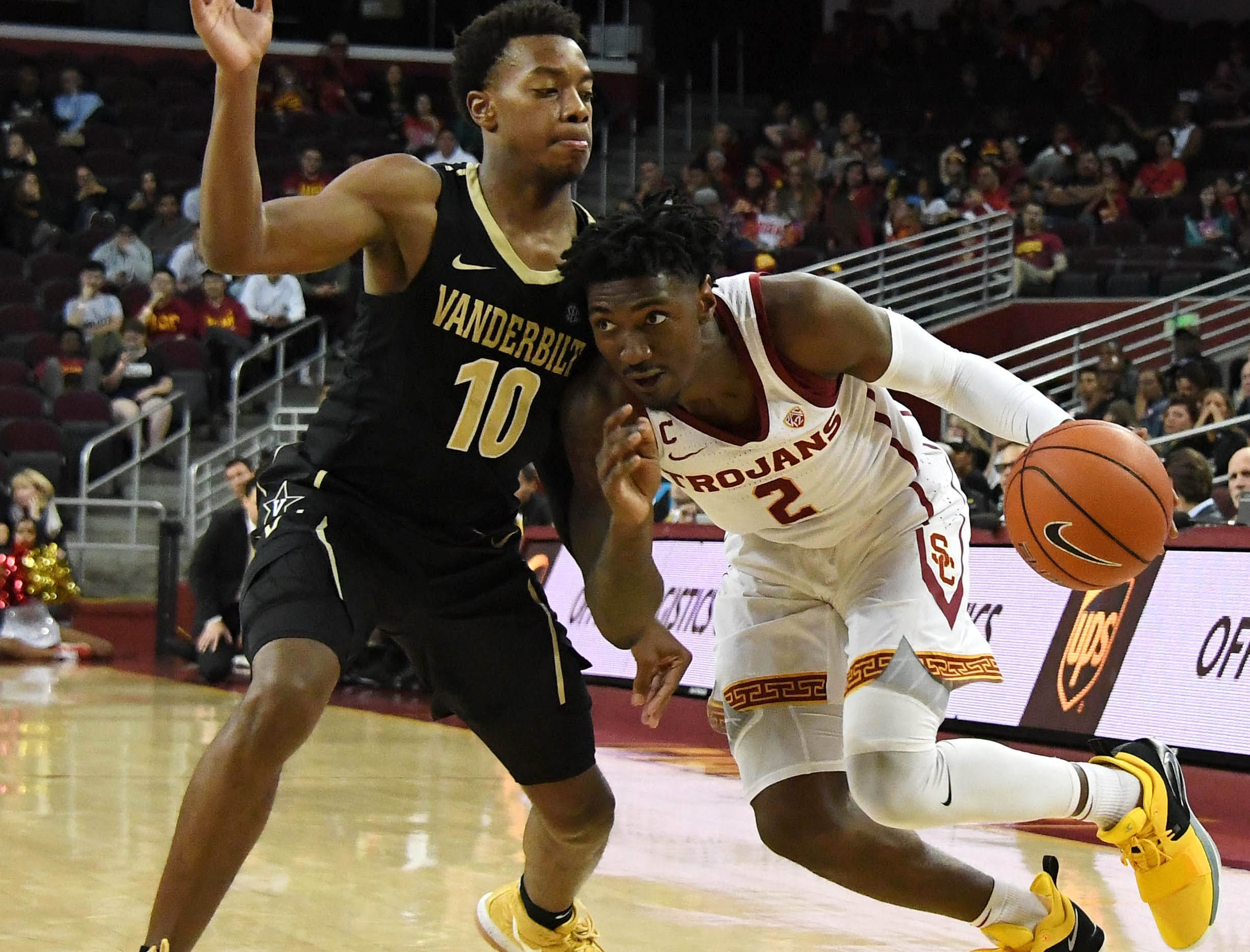 USA; Southern California Trojans guard Jonah Mathews (2) dribbles against Vanderbilt Commodores guard Darius Garland (10) in the second half at Galen Center.