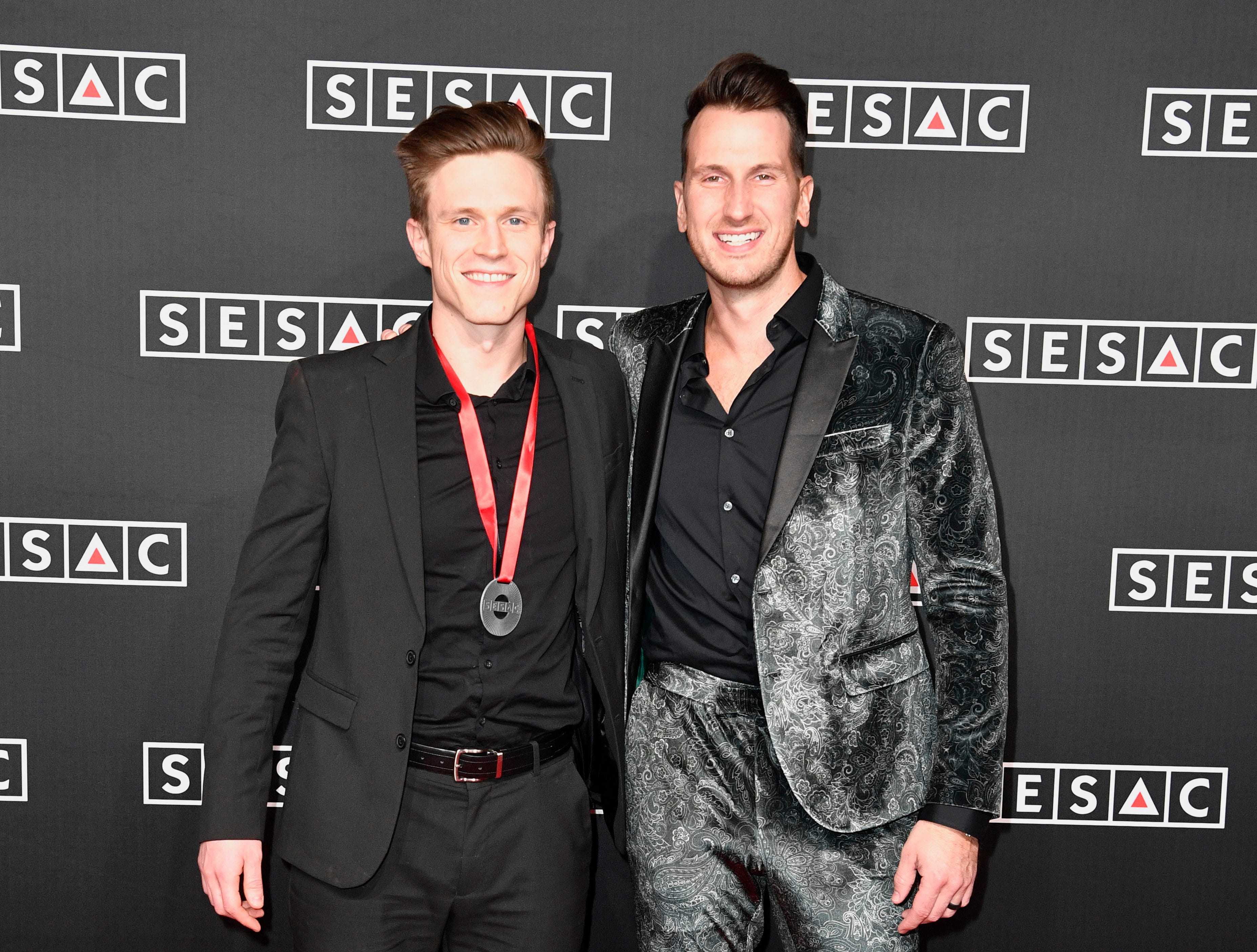 Russell Dickerson and Casey Brown on the red carpet at the SESAC Nashville Music Awards at the Country Music Hall of Fame and Museum Sunday Nov. 11, 2018, in Nashville, Tenn.