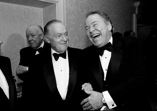 "Bob Hope, left,  jokes with his friend Roy Clark during a reception and dinner in Clark's honor, ""A Salute to Roy Clark,"" at the Sheraton Music City Hotel on Sept. 9, 1988."