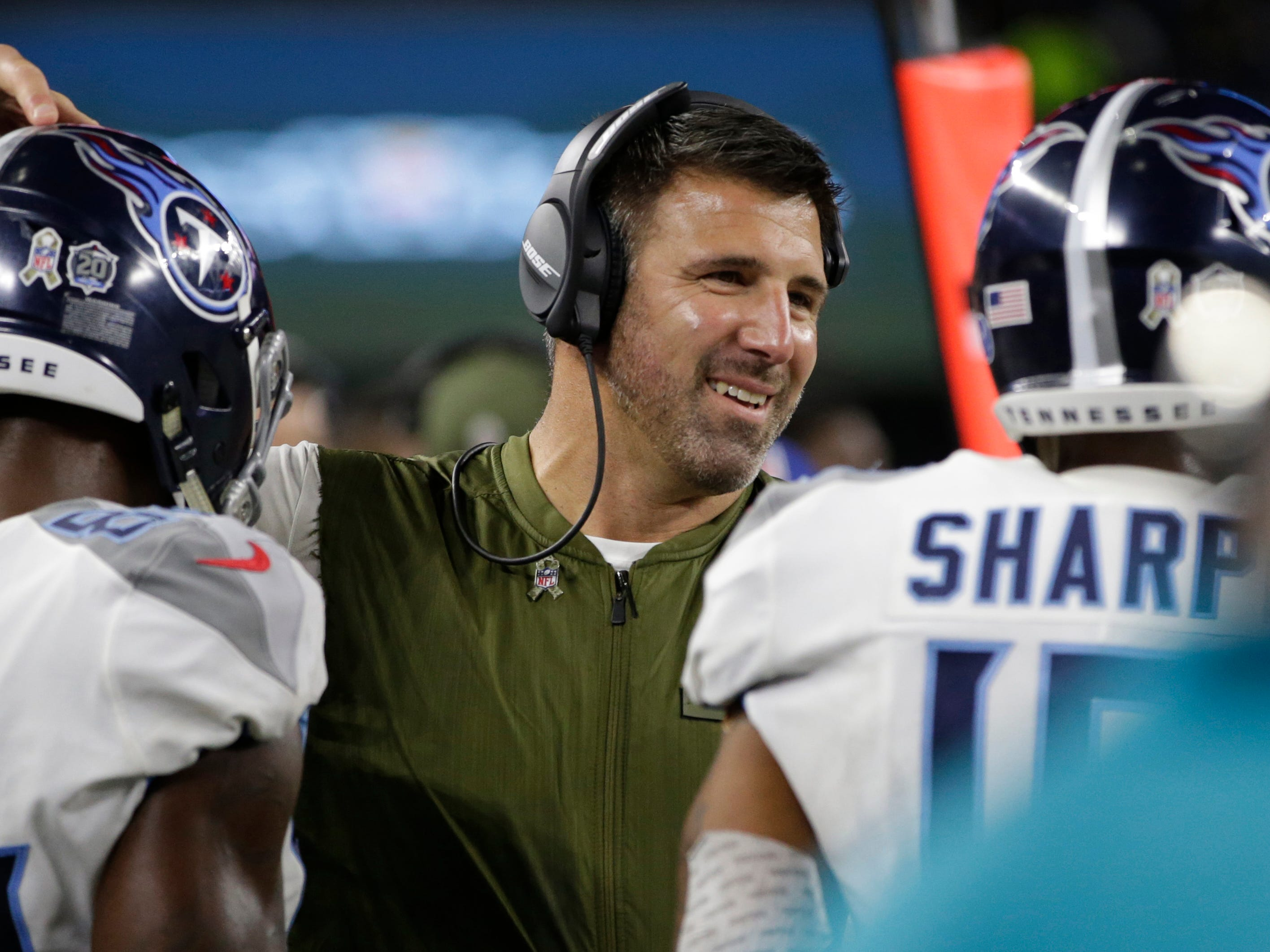 Nov. 5: Titans 28, Cowboys 14 -- Tennessee Titans head coach Mike Vrabel smiles during the game against the Dallas Cowboys at AT&T Stadium.