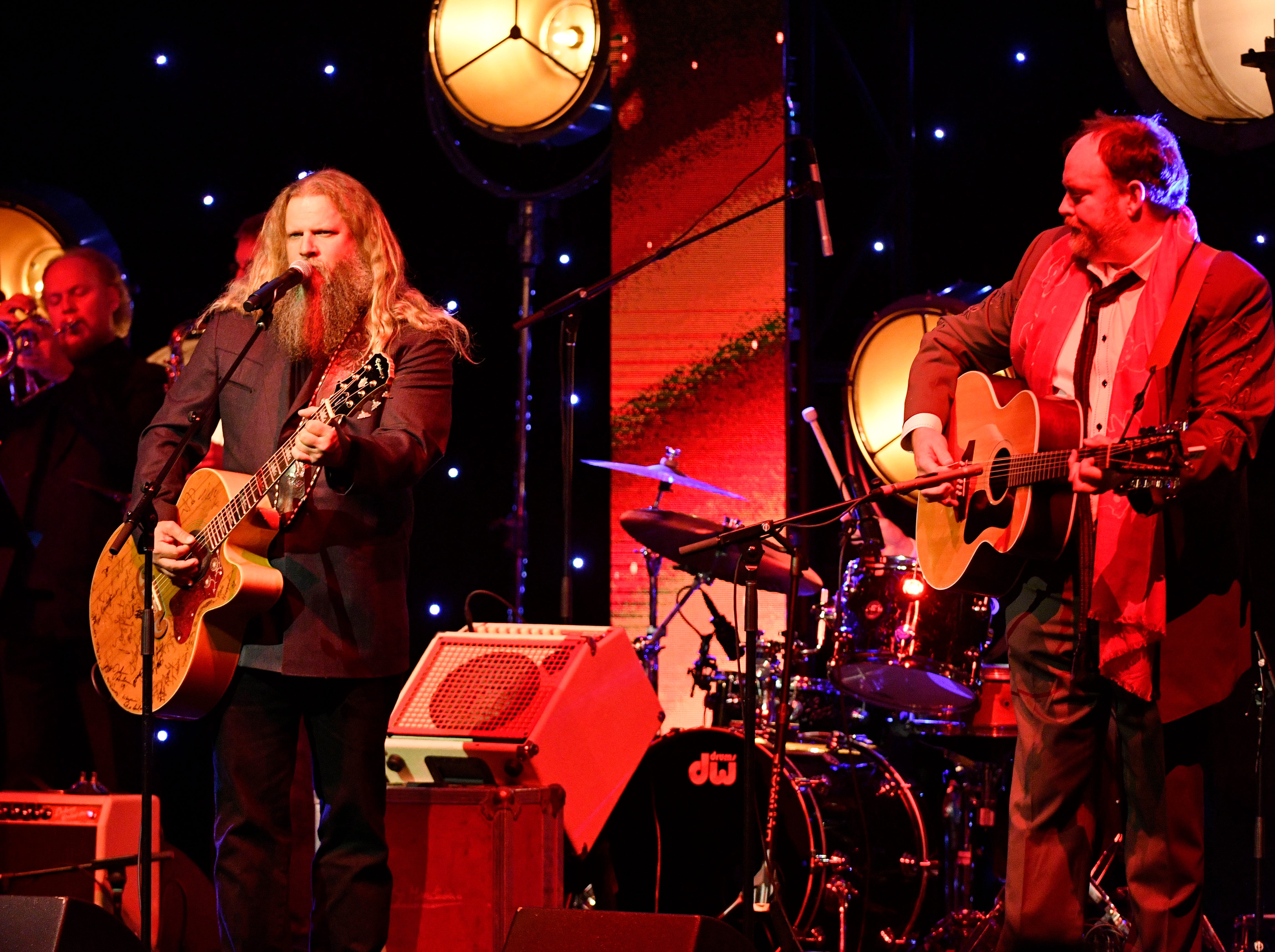 """Jamey Johnson and John Carter Cash performing """"Spirit Rider"""" from the recent project Johnny Cash: Forever Words at the SESAC Nashville Music Awards at the Country Music Hall of Fame and Museum Sunday Nov. 11, 2018, in Nashville, Tenn."""