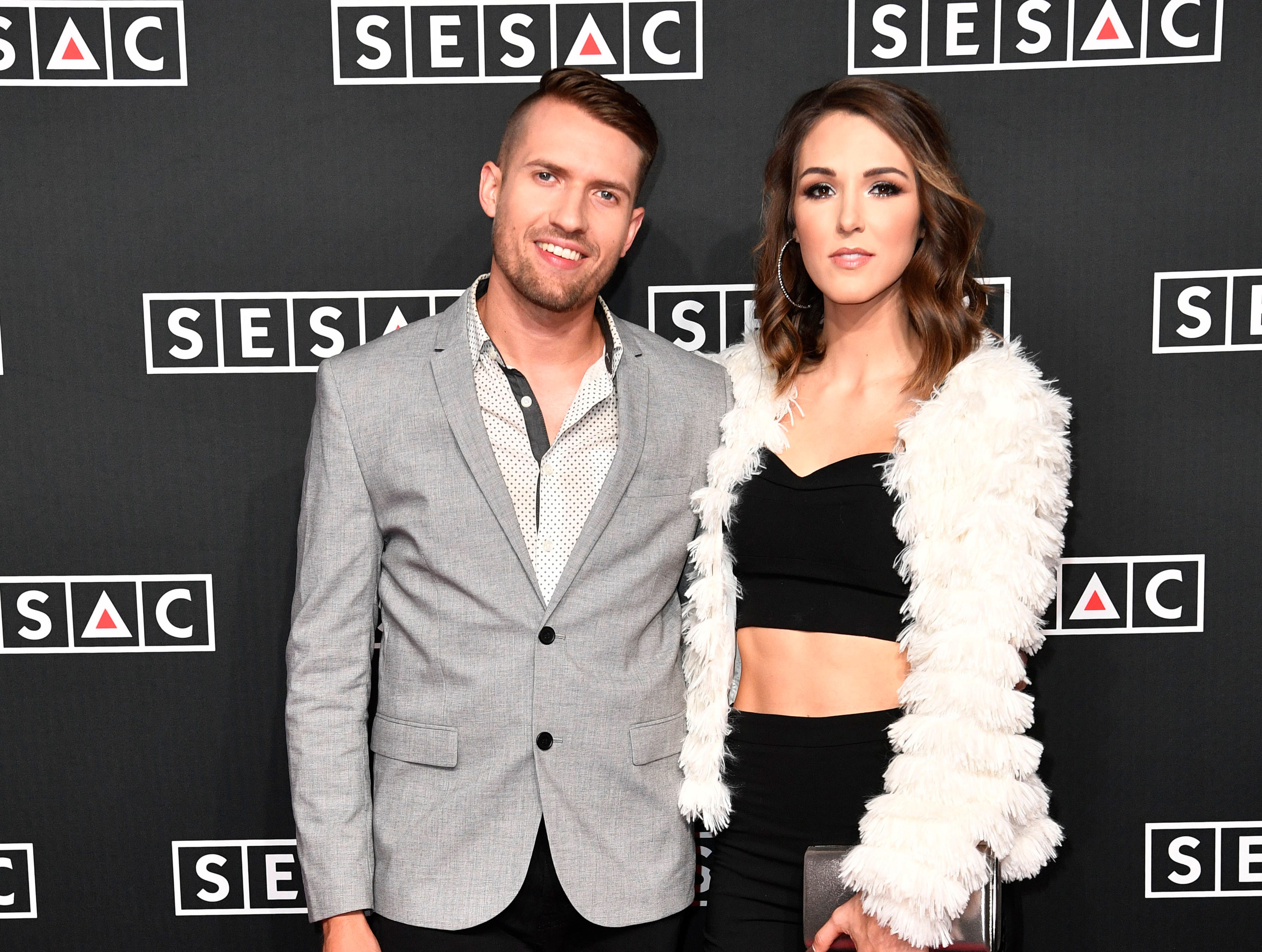 Trey Smith and Jennifer Fielder on the red carpet at the SESAC Nashville Music Awards at the Country Music Hall of Fame and Museum Sunday Nov. 11, 2018, in Nashville, Tenn.