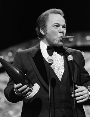 "Popular ""Hee Haw"" star Roy Clark, with a victory cigar, repeats as the Instrumentalist of the Year winner during the 12th annual CMA Awards show Oct. 9, 1978."