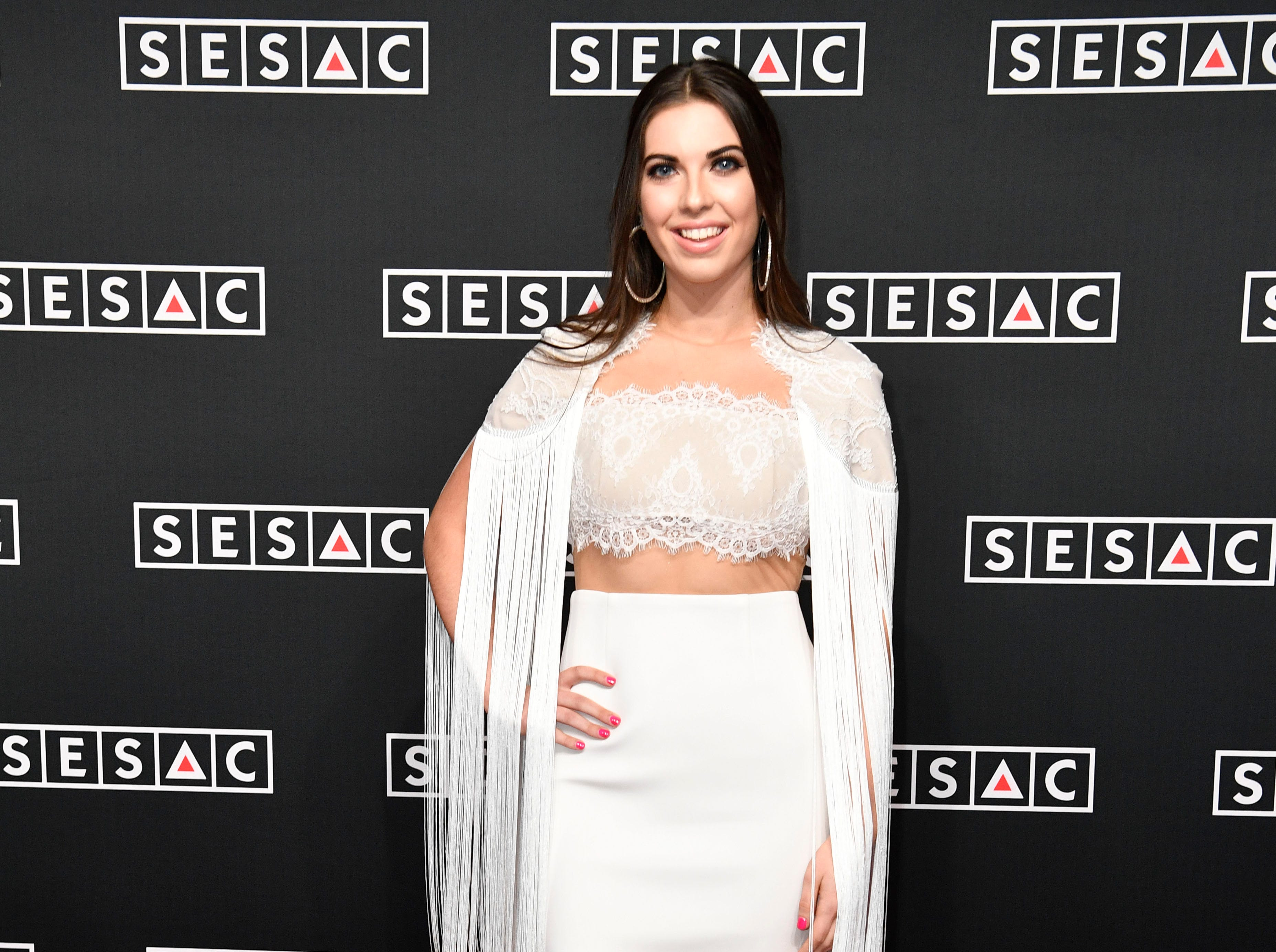 Jenny Tolman on the red carpet at the SESAC Nashville Music Awards at the Country Music Hall of Fame and Museum Sunday Nov. 11, 2018, in Nashville, Tenn.