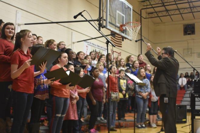Cheatham Middle School choir students at the Cheatham County Veterans Day Program at Ashland City Elementary School on Monday, Nov. 12.