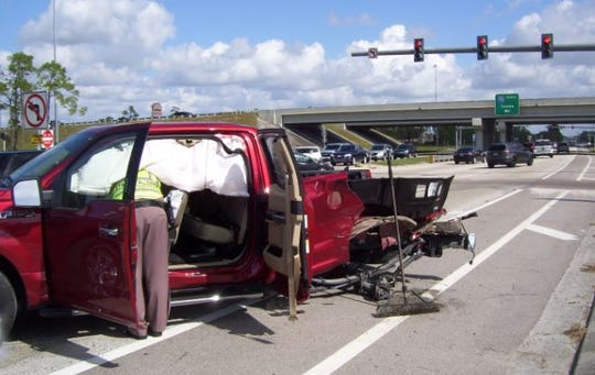 A Ford F-150 pickup involved in a crash with a Ford Focus that had been chased on Interstate 75 and Corkscrew Road on Sunday, Nov. 11, 2018.
